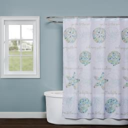 Image of Seaside Blossoms Fabric Shower Curtain