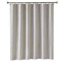 Image of Neutral Stripe Fabric Shower Curtain