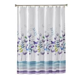 Image of Watercolor Meadow Fabric Shower Curtain