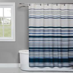 Image of Cubes Stripe Fabric Shower Curtain