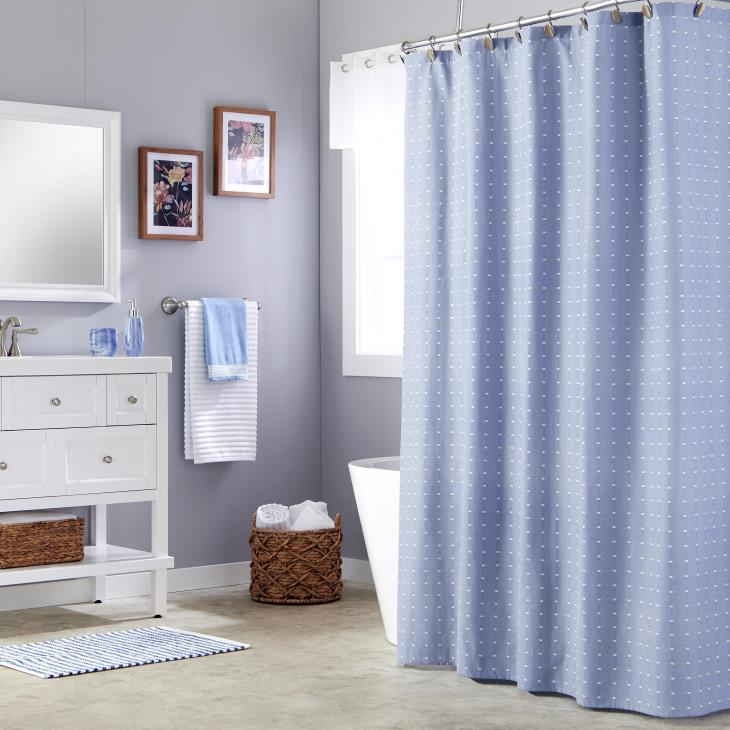 Picture of Chambray Squares Fabric Shower Curtain