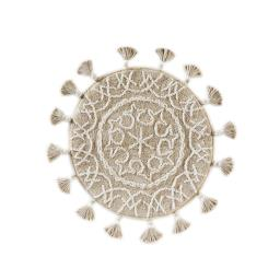 Image of Medallia Round Rug with Fringe in Natural