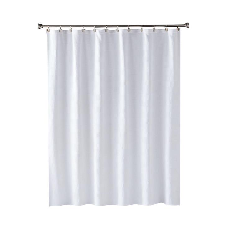 Picture of Large Basketweave In White Fabric Shower Curtain