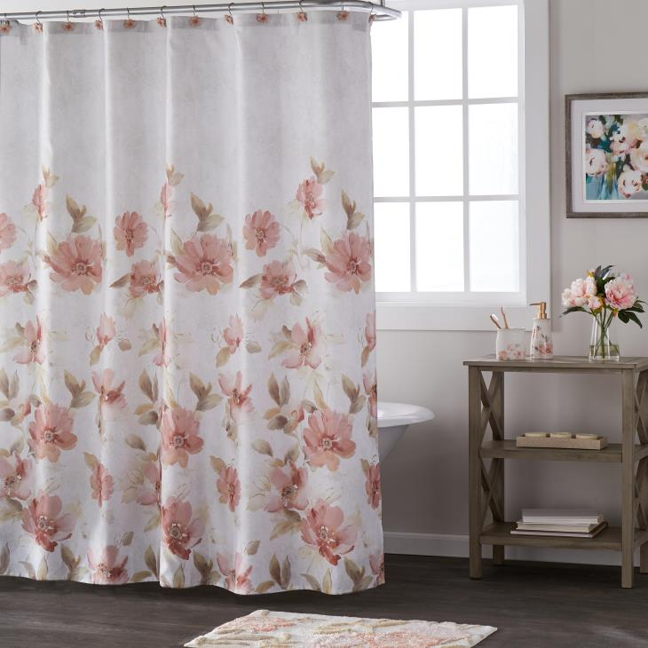 Picture of Misty Floral Fabric Shower Curtain
