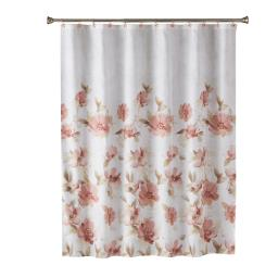 Image of Misty Floral Fabric Shower Curtain