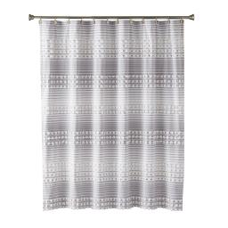 Image of Puffed Stripe Fabric Shower Curtain