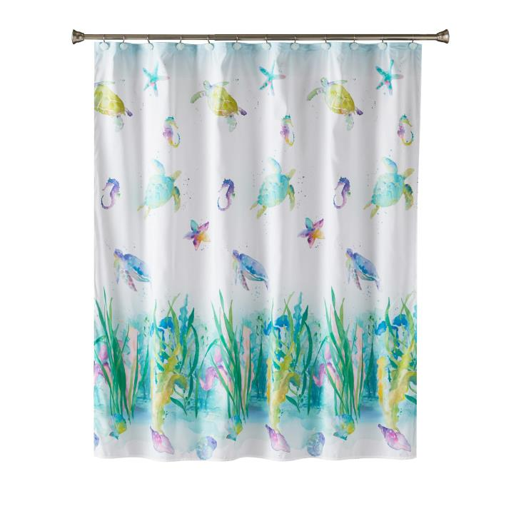 Picture of Watercolor Ocean Fabric Shower Curtain