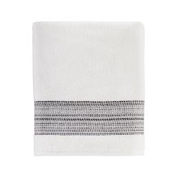Image of Geo Stripe Bath Towel in White