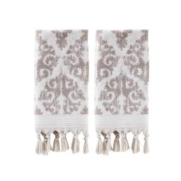Image of Mirage Fringe 2-Piece Hand Towel Set in Taupe
