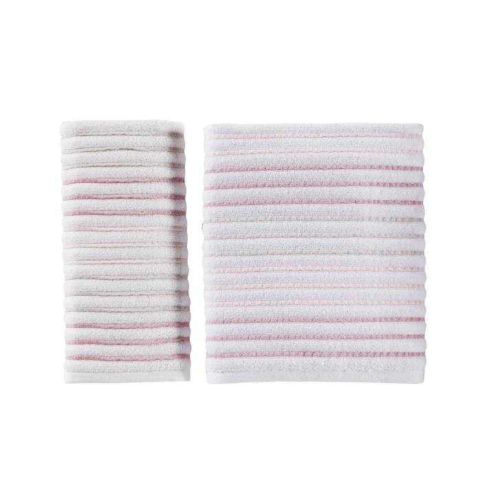 Picture of Tie Dye Stripe 2-Piece Hand Towel Set in Coral