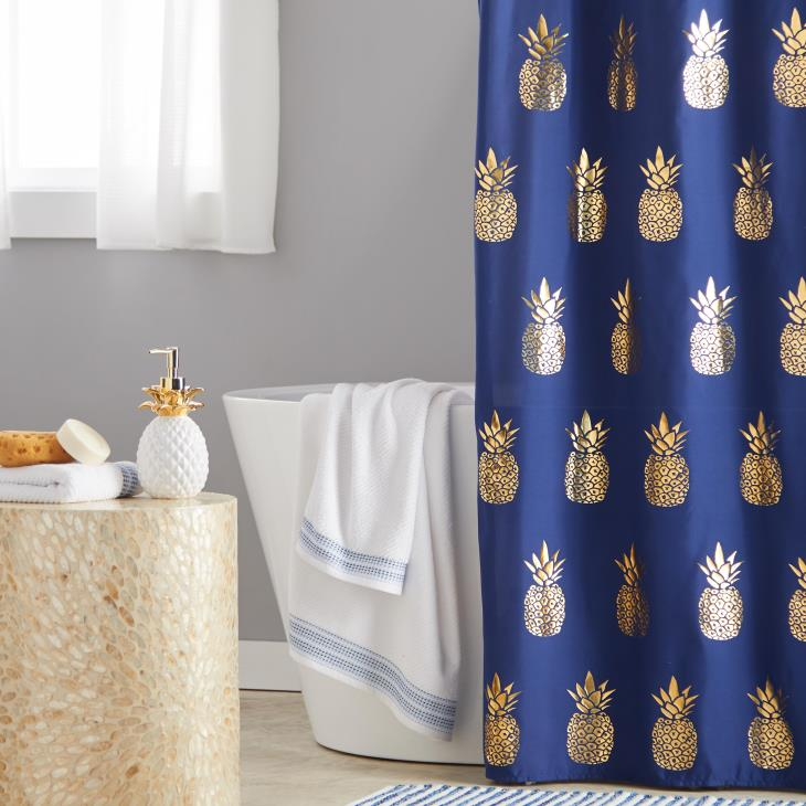 Picture of Gilded Pineapple Fabric Shower Curtain