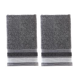 Image of Geo 2-Piece Hand Towel Set in Slate