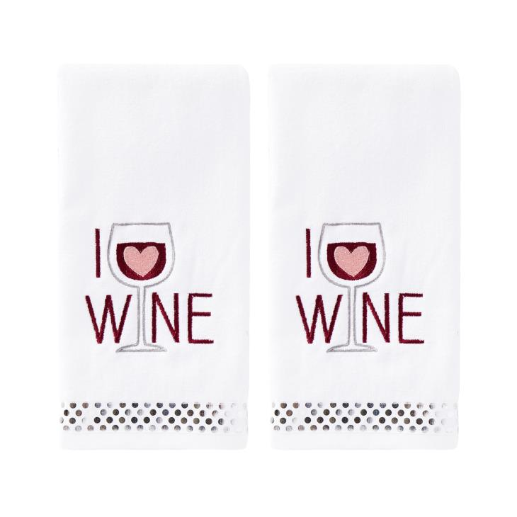 Picture of I Love Wine 2-Piece Hand Towel Set
