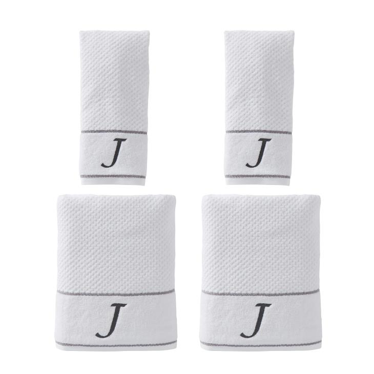 "Picture of Monogram ""J"" 4-Piece Bath & Hand Towel Set"
