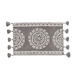 Image of Medallia Small Rug with Fringe in Gray