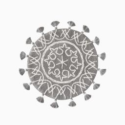 Image of Medallia Round Rug with Fringe in Gray
