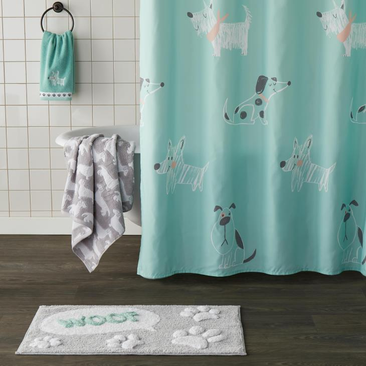 Picture of Scribble Pup Fabric Shower Curtain
