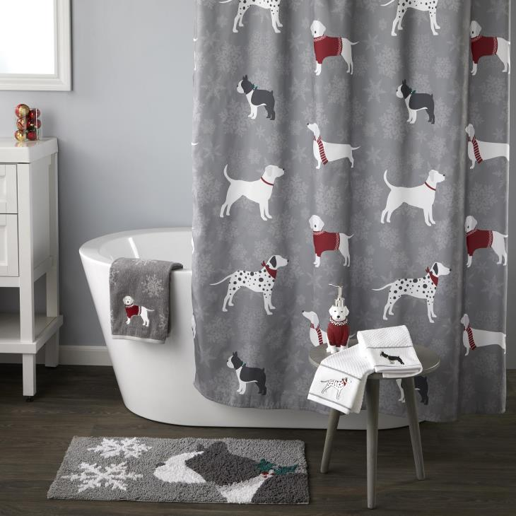 Picture of Fa La La Dogs Shower Curtain