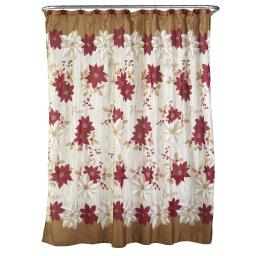 Image of Poinsettia Shower Curtain and Hook Set