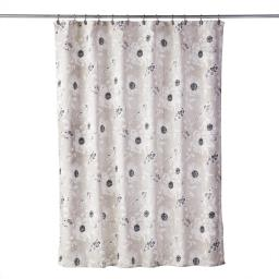 Image of Linen Flowers Fabric Shower Curtain