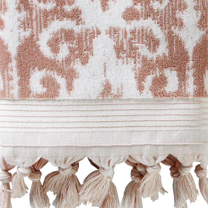 Picture of Mirage Fringe Bath Towel in Coral