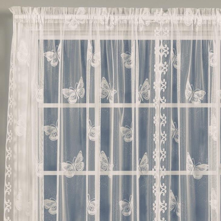 "Picture of Butterfly Lace 63"" Window Panel in Ivory"