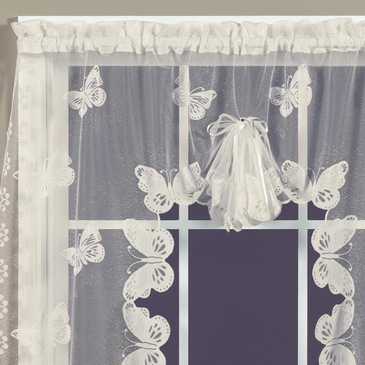 "Picture of Butterfly Lace 38"" Window Swag in Ivory"