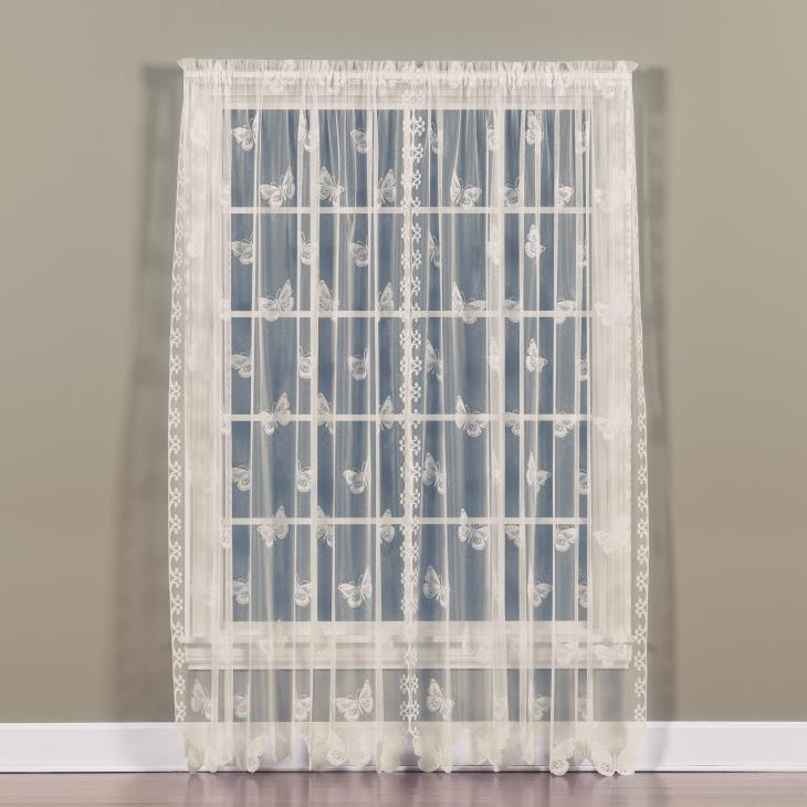 "Picture of Butterfly Lace 84"" Window Panel in Ivory"