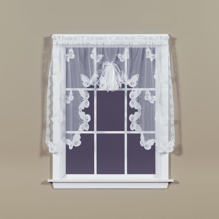 "Picture of Butterfly Lace 38"" Window Swag in White"