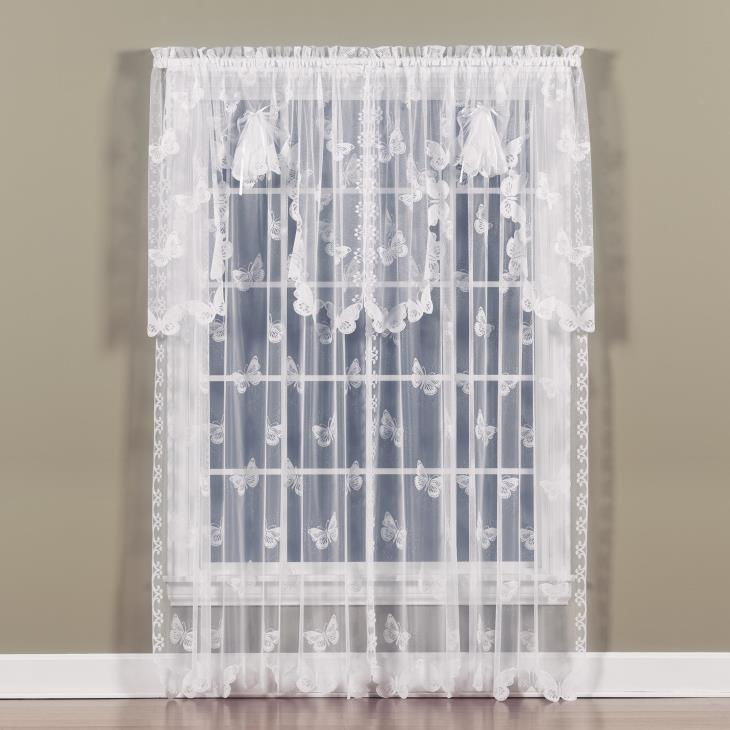 "Picture of Butterfly Lace 63"" Window Panel in White"