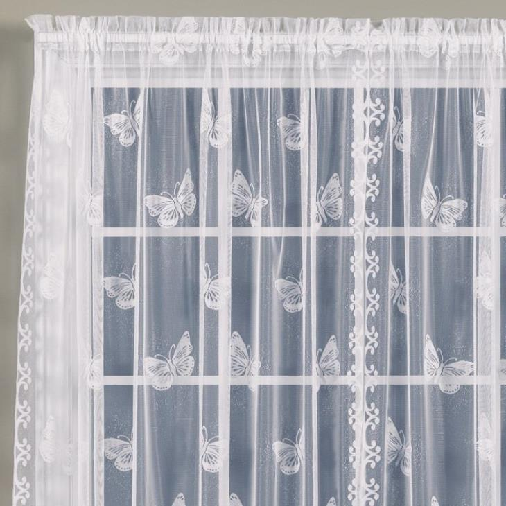 "Picture of Butterfly Lace 84"" Window Panel in White"