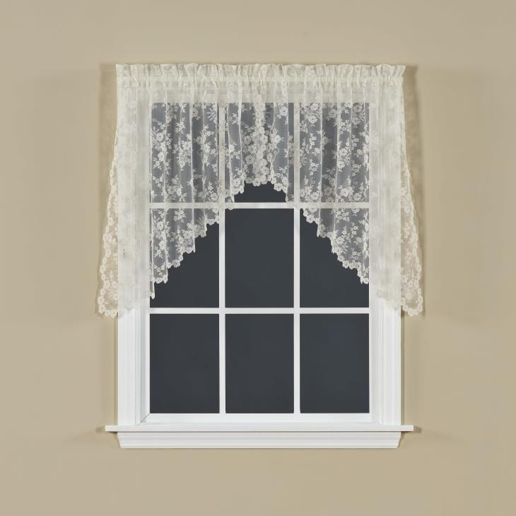 "Picture of Petite Fleur 30"" Window Swag in Ivory"