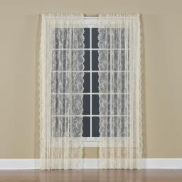 "Image of Petite Fleur 63"" Window Panel in Ivory"