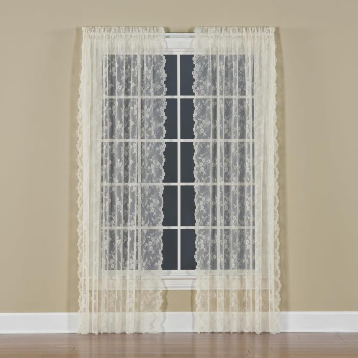 "Picture of Petite Fleur 63"" Window Panel in Ivory"