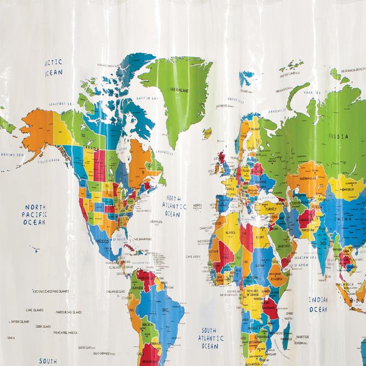 Picture of The World PEVA Shower Curtain