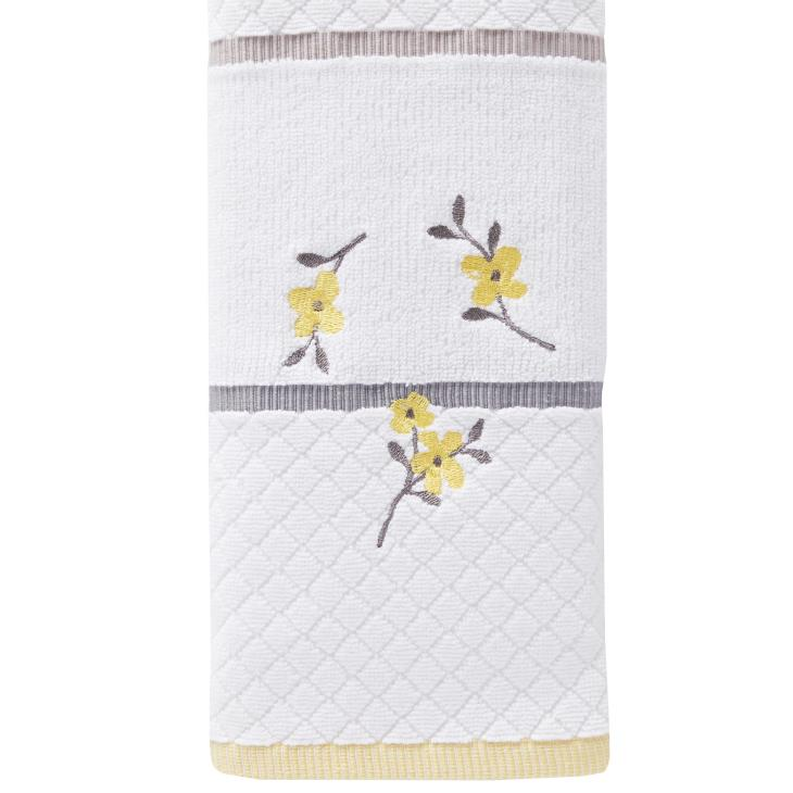 Picture of Spring Garden Embroidered Hand Towel in White