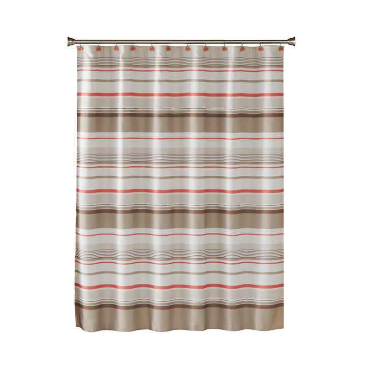 Picture of Coral Garden Stripe Fabric Shower Curtain